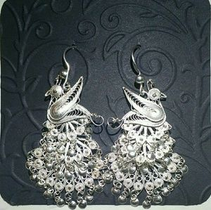 NEW Silver Lace Peacock Earrings
